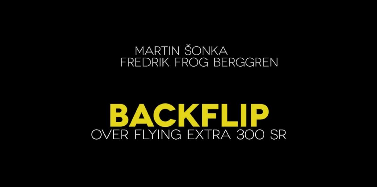 Fredrik 'Frog' Berggren flips over a flying stunt plane